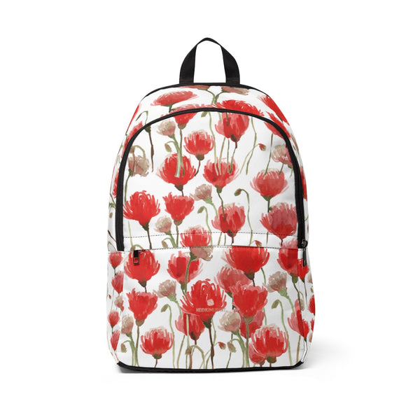 Red Poppy Flower Floral Print Designer Unisex Fabric Backpack School Bag With Laptop Slot-Backpack-One Size-Heidi Kimura Art LLC