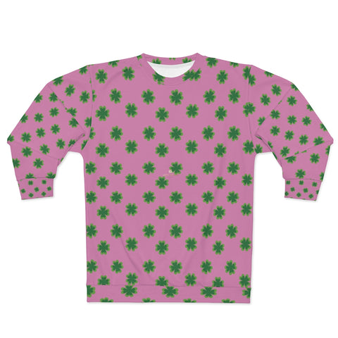 Pink St. Patrick's Day Shirt, Pink St. Patrick's Day Green Clover Leaf Print Unisex Classic Fit Couple's Cotton Polyester Sweatshirt - Made in USA (US Size: XS-2XL) Shamrock St. Patrick's Day Sweatshirt Unisex, Mens st patricks day, St patricks day shirt women long sleeve, St Patricks Day Tops in Men's T-Shirts, St. Patrick's Day Men's and Women's Unisex Couples Top, mens st patricks day shirts, st patricks day t shirts