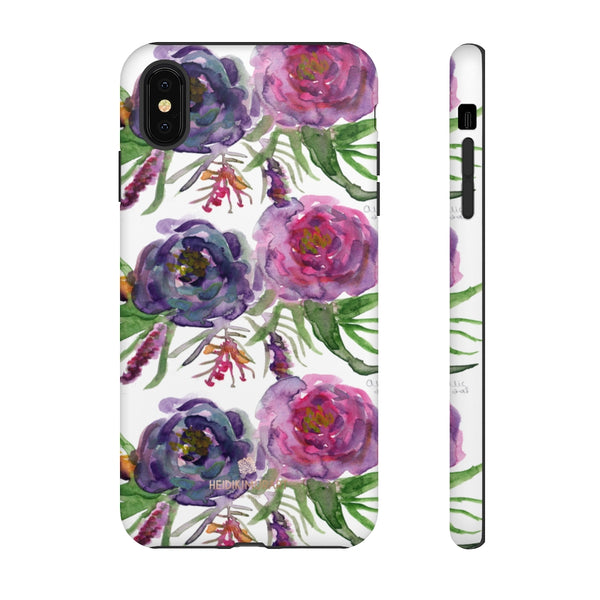 Pink Floral Print Phone Case, Roses Tough Designer Phone Case -Made in USA-Phone Case-Printify-iPhone XS MAX-Matte-Heidi Kimura Art LLC