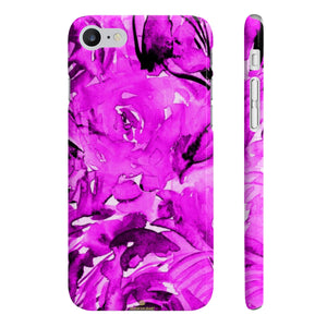 Purple Pink Slim iPhone/ Samsung Galaxy Floral Purple Rose Smart Phone Case, Made in UK-Phone Case-iPhone 7, iPhone 8 Slim-Glossy-Heidi Kimura Art LLC