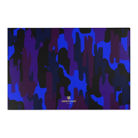 "Purple Blue Camouflage Military Army Print 24x36/ 36x60/ 48x72 inches Area Rug-Area Rug-72"" x 48""-Heidi Kimura Art LLC"