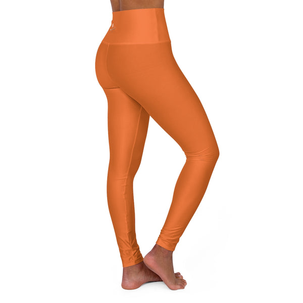 Hot Orange High Waisted Yoga Leggings, Solid Color Long Women Yoga Tights-All Over Prints-Printify-Heidi Kimura Art LLC