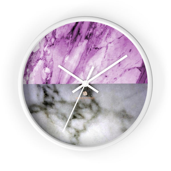 "Pink White Marble Print Art Large Indoor Designer 10"" dia. Wall Clock-Made in USA-Wall Clock-10 in-White-White-Heidi Kimura Art LLC"