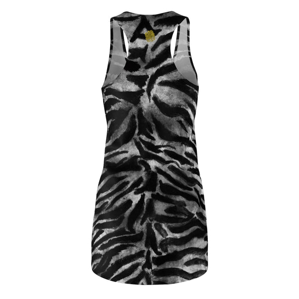 Women's Black Grey Wild Tiger Stripe Animal Print Long Best Racerback Dress, Made in USA-Women's Sleeveless Dress-Heidi Kimura Art LLC