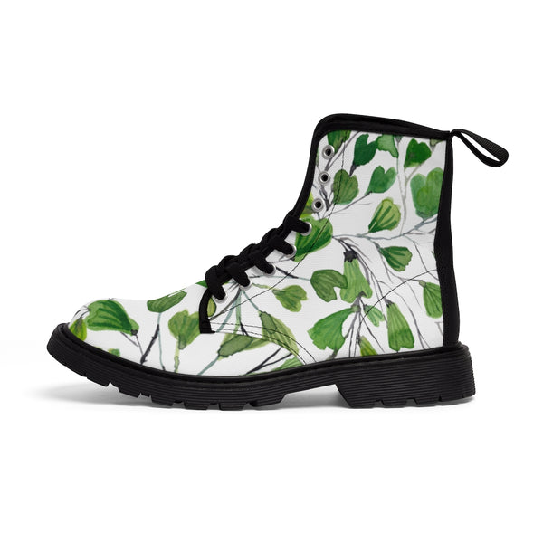 Green Maidenhair Women's Canvas Boots, Tropical Fern Print Winter Boots For Ladies-Shoes-Printify-Heidi Kimura Art LLC Green Maidenhair Women's Canvas Boots, Tropical Fern Print Designer Women's Winter Lace-up Toe Cap Boots Shoes For Women   (US Size 6.5-11)