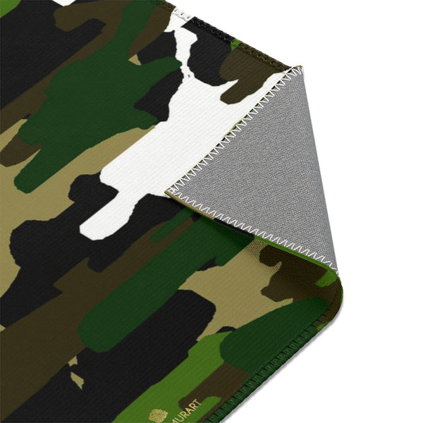 Green Camouflage Military Army Print Designer 24x36, 36x60, 48x72 inches Area Rugs - Printed in USA-Area Rug-Heidi Kimura Art LLC