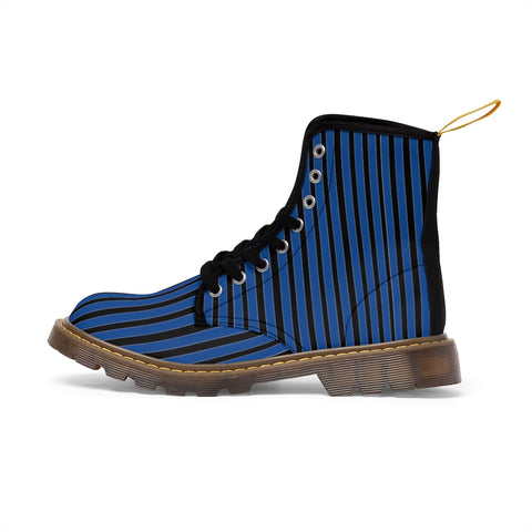 Blue Striped Print Men's Boots, Black Stripes Best Hiking Winter Boots Laced Up Shoes For Men-Shoes-Printify-Heidi Kimura Art LLC Blue Striped Print Men's Boots, Black Blue Stripes Men's Canvas Hiking Winter Boots, Fashionable Modern Minimalist Best Anti Heat + Moisture Designer Comfortable Stylish Men's Winter Hiking Boots Shoes For Men (US Size: 7-10.5)