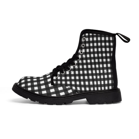 Buffalo Plaid Women's Canvas Boots, Black White Plaid Print Winter Boots For Ladies-Shoes-Printify-Heidi Kimura Art LLC Buffalo Plaid Women's Canvas Boots, Black White Flannel Plaid Print Modern Hiking Boots, Casual Fashion Gifts, High Fashion Combat Boots Shoes, Designer Women's Winter Lace-up Toe Cap Hiking Boots Shoes For Women (US Size 6.5-11)