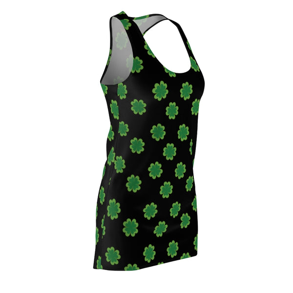 Black Green Clover Dress, Leaf Print St. Patty's Day Women's Racerback Dress-Made in USA-Women's Sleeveless Dress-Heidi Kimura Art LLC