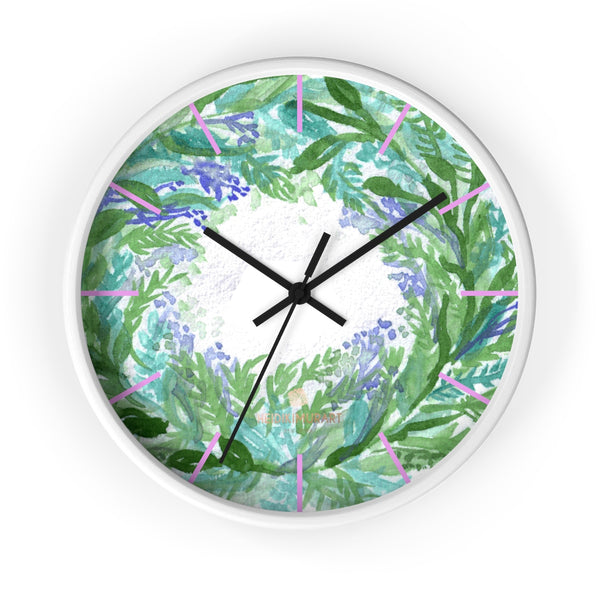Violet Purple Pastel Color French Lavender 10 in. Dia. Indoor Wall Clock- Made in USA-Wall Clock-10 in-White-Black-Heidi Kimura Art LLC