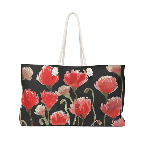 "Black Red Poppy Flowers Floral Print Oversized Designer 24""x13"" Large Weekender Bag-Weekender Bag-24x13-Heidi Kimura Art LLC Black Red Poppy Weekender Bag, Black Red Poppy Flowers Floral Print Oversized Designer 24""x13"" Large Weekender Bag - Made in USA"
