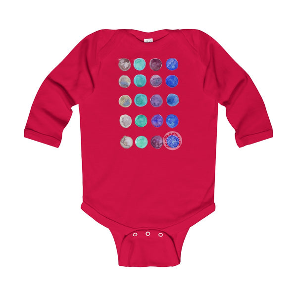 Polka Dots Infant Long Sleeve Bodysuit - Made in United Kingdom (UK Size: 6M-24M)-Kids clothes-Red-12M-Heidi Kimura Art LLC