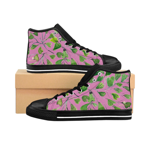 Pink Green Maidenhair Men's Tennis Shoes, Tropical Print Designer Best High-top Sneakers For Men-Shoes-Printify-Heidi Kimura Art LLC Pink Fern Men's High-top Sneakers, Green Cute Maidenhair Leaf Print Designer Men's High-top Sneakers Running Tennis Shoes, Fern Leaves Designer High Tops, Mens Floral Shoes, Tropical Leaf Print Sneakers (US Size: 6-14)