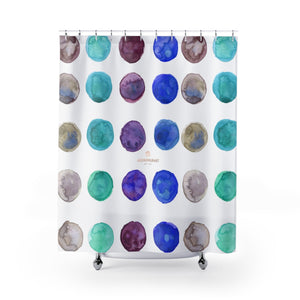 "Mina Blue Brown Purple Polka Dots Watercolor Print 71""x74"" Polyester Shower Curtains- Made in USA,Boho Curtain,Abstract Curtain,Retro Bath  Mina Blue Brown Purple Polka Dots Watercolor Print 71""x74"" Polyester Shower Curtains- Made in USA,Boho Curtain,Abstract Curtain,Retro Bath  Mina Blue Brown Purple Polka Dots Watercolor Print 71""x74"" Polyester Shower Curtains- Made in USA"