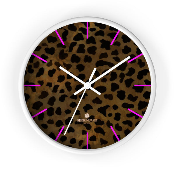 Cheetah Animal Print Designer 10 in. Dia. Indoor Wall Clock- Made in USA-Wall Clock-10 in-White-White-Heidi Kimura Art LLC