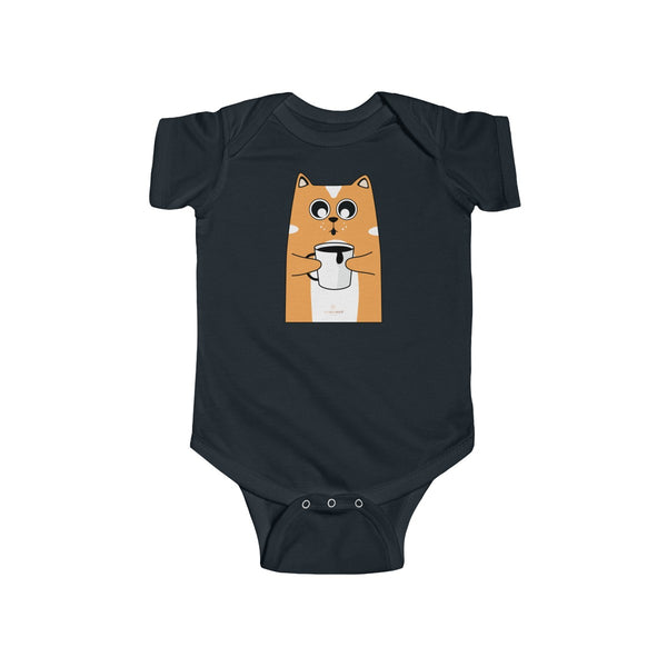 Orange Cat Loves Coffee Infant Fine Jersey Regular Fit Unisex Bodysuit - Made in UK-Infant Short Sleeve Bodysuit-Black-NB-Heidi Kimura Art LLC