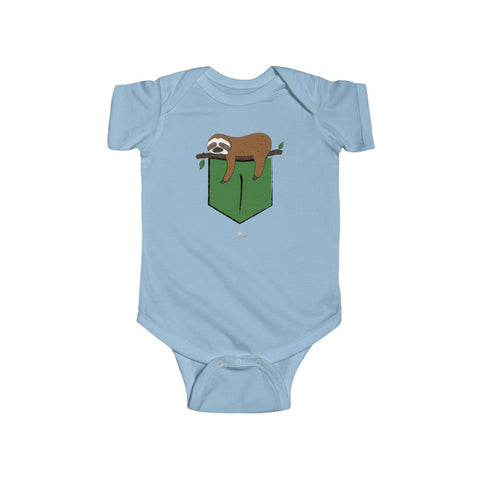 Lazy Sleepy Sloth Animal Infant Regular Fit Unisex Cute Bodysuit- Made in UK-Infant Short Sleeve Bodysuit-Light Blue-12M-Heidi Kimura Art LLC