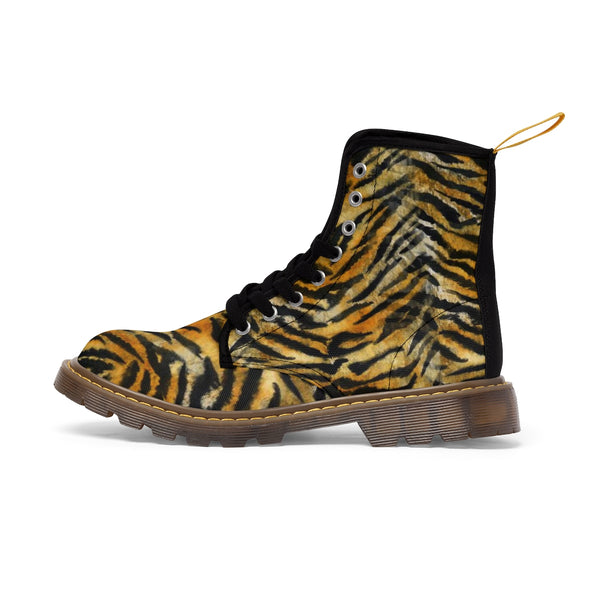 Women's Tiger Stripe Boots, Brown Bengal Tiger Print Winter Lace-up Toe Cap Boots Shoes-Women's Boots-Brown-US 10-Heidi Kimura Art LLC