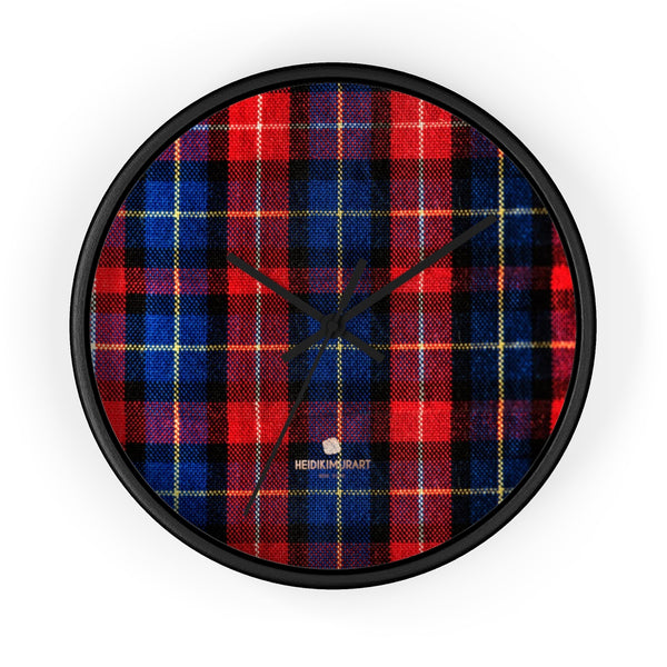 Classic Red Plaid Pattern London Calling Modern 10 in. Diameter Wall Clock-Made in USA-Wall Clock-10 in-Black-Black-Heidi Kimura Art LLC