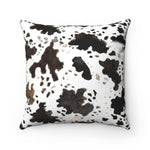 Miki Cow Pattern Double Sided Print 100% Faux Suede Cover Square Pillow With Concealed Zipper Polyester Pillow Included - Heidi Kimura Art LLC