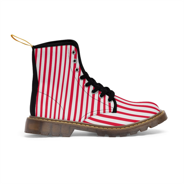 Red Striped Women's Canvas Boots, Best Modern White Red Stripes Winter Boots For Ladies-Shoes-Printify-Heidi Kimura Art LLC Red Striped Women's Canvas Boots, Vertically White Striped Print Designer Women's Winter Lace-up Toe Cap Boots Shoes For Women   (US Size 6.5-11)