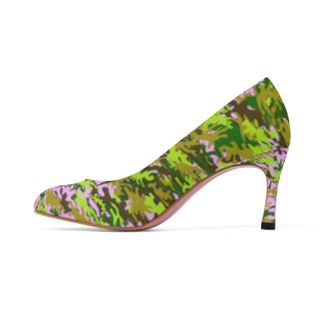 Pink Green White Camo Military Army Print Premium Women's High Heels Shoes-3 inch Heels-US 7-Heidi Kimura Art LLC Pink Green Camo Heels, Pink Black Green White Camo Military Army Print Premium Women's 3 inch Designer High Heels Shoes Stylish Pumps, Camouflage Heels, Camo Heels, Camo Shoes, Green Camo Heel, Army Camo High Heels, Camouflage High Heel Shoes (US Size: 5-11)