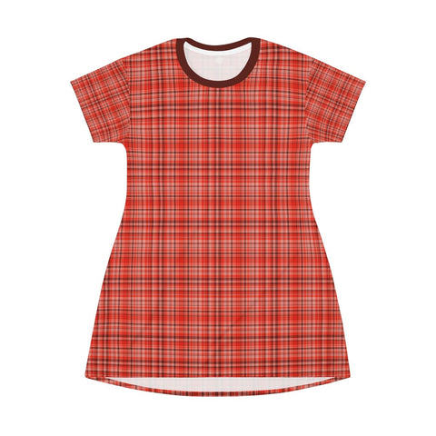 Orange Red Plaid Tartan Print Designer Crew Neck T-shirt Dress-Made in USA-T-Shirt Dress-Heidi Kimura Art LLC