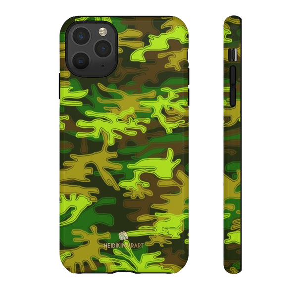 Green Camouflage Phone Case, Army Military Print Tough Designer Phone Case -Made in USA-Phone Case-Printify-iPhone 11 Pro Max-Glossy-Heidi Kimura Art LLC