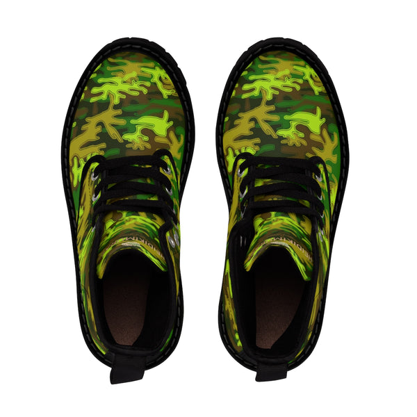Bright Green Camouflage Military Army Print Men's Canvas Winter Laced Up Boots-Men's Boots-Heidi Kimura Art LLC