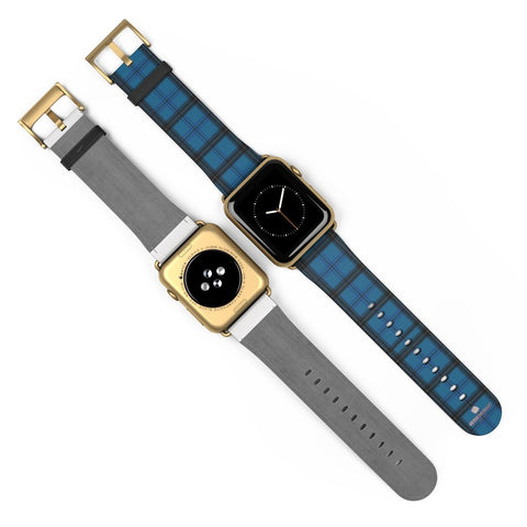 Blue Black Plaid Tartan Print Premium 38mm/42mm Designer Watch Band- Made in USA-Watch Band-Heidi Kimura Art LLC Blue Plaid Apple Watch Band, Blue Black Plaid Tartan Print Pattern 38 mm or 42 mm Premium Best Printed Designer Top Quality Faux Leather Comfortable Elegant Fashionable Smart Watch Band Strap, Suitable for Apple Watch Series 1, 2, 3, 4 and 5 Smart Electronic Devices - Made in USA