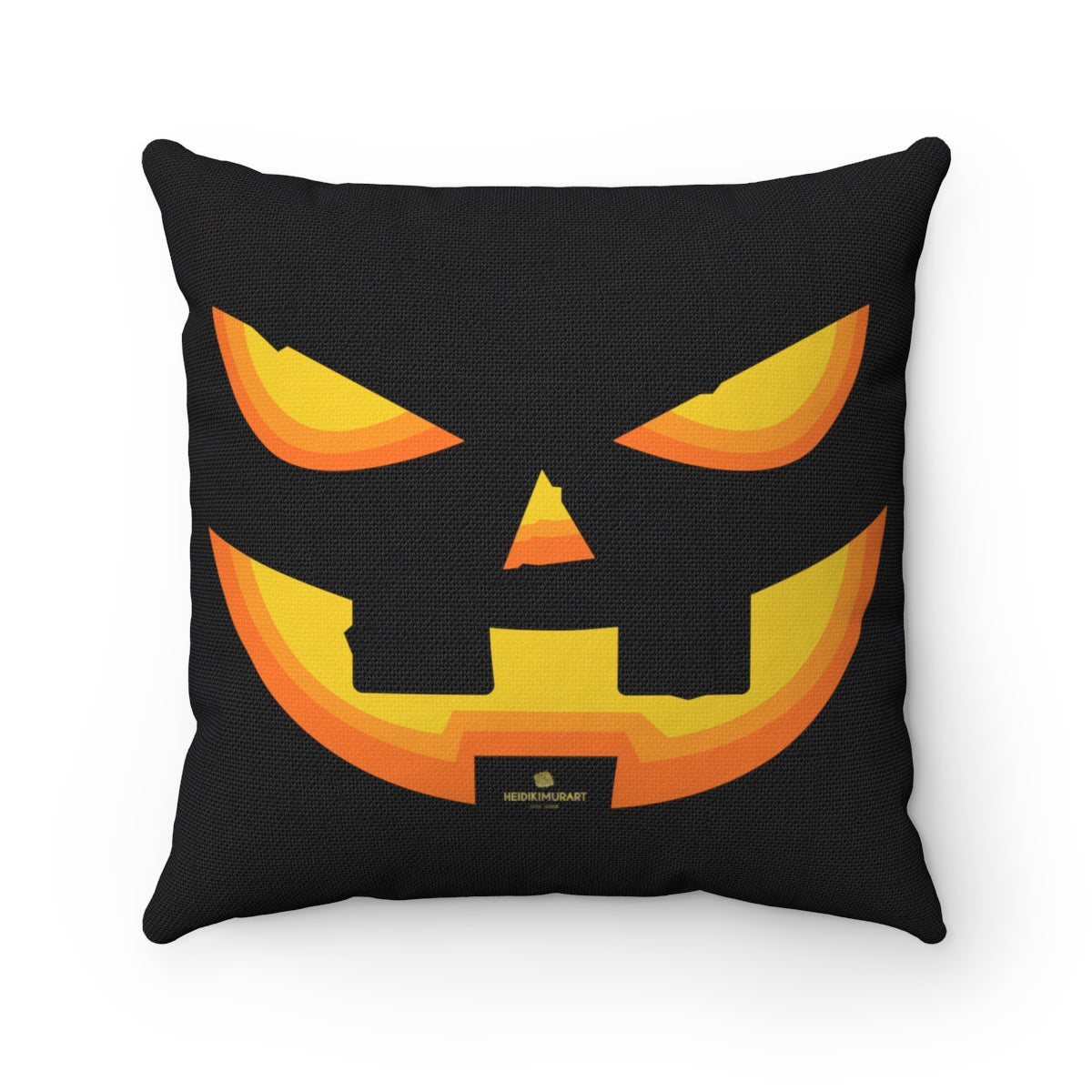 "Halloween Pumpkin Smiley Face Premium Spun Polyester Square Pillow- Made in USA-Pillow Case-14"" x 14""-Heidi Kimura Art LLC"