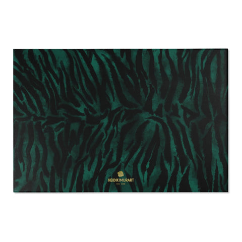 "Green Black Tiger Stripe Animal Print Designer 24x36, 36x60, 48x72 inches Area Rugs - Printed in USA-Area Rug-72"" x 48""-Heidi Kimura Art LLC"