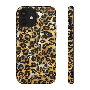 Brown Leopard Tough Cases, Animal Print Best Designer Phone Case-Made in USA-Phone Case-Printify-iPhone 12-Glossy-Heidi Kimura Art LLC