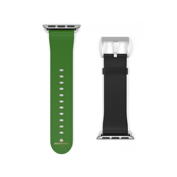 Black Green Duo Apple Band, Solid Color Print Premium Apple Watch Band- Made in USA-Watch Band-38 mm-Silver Matte-Heidi Kimura Art LLC