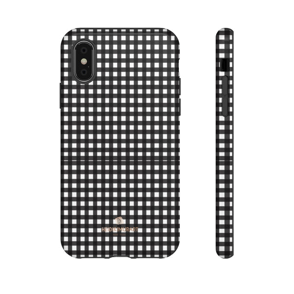 Buffalo Plaid Print Phone Case, Black White Tough Designer Phone Case -Made in USA-Phone Case-Printify-iPhone XS-Glossy-Heidi Kimura Art LLC