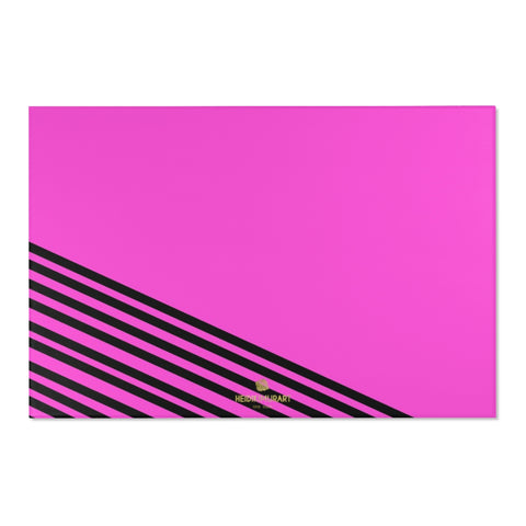 "Pink Black Stripe Print Designer 24x36, 36x60, 48x72 inches Area Rugs - Printed in USA-Area Rug-72"" x 48""-Heidi Kimura Art LLC"