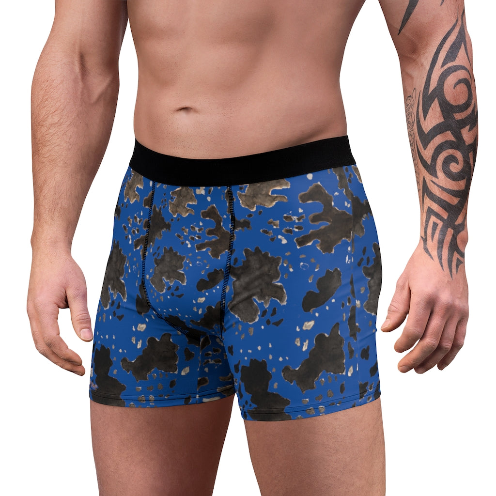 Blue Cow Men's Underwear, Cow Farm Animal Print Fetish Print Designer Fashion Underwear For Sexy Gay Men, Men's Gay Fetish Party Erotic Boxer Briefs Elastic Underwear (US Size: XS-3XL)