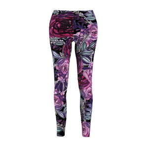 Rose Wreath Floral Rose Flower Print Women's Tights / Casual Leggings - Made in USA-Casual Leggings-M-Heidi Kimura Art LLC