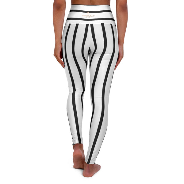 Striped High Waisted Yoga Leggings, Black White Stripes Women's Tights-All Over Prints-Printify-Heidi Kimura Art LLC