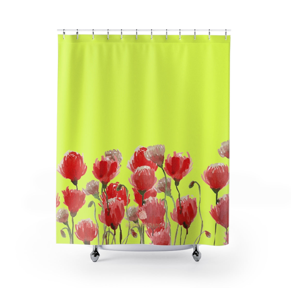 "Yellow Red Poppy Flower Floral Print Designer Polyester Shower Curtains- Made in USA-Shower Curtain-71"" x 74""-Heidi Kimura Art LLC Yellow Red Poppy Bath Curtains, Yellow Red Poppy Flower Floral Print Designer Polyester Shower Curtains- Printed in USA, Premium Bathroom Shower Curtains Home Decor Large 100% Polyester 71x74 inches"