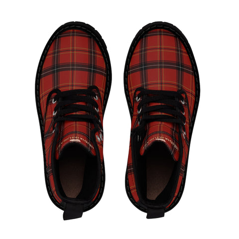 Red Plaid Print Men's Boots, Best Hiking Winter Boots Laced Up Shoes For Men-Shoes-Printify-Black-US 9-Heidi Kimura Art LLC Red Plaid Men's Boots, Best Plaid Tartan Print Best Luxury Premium Quality Unique Plai