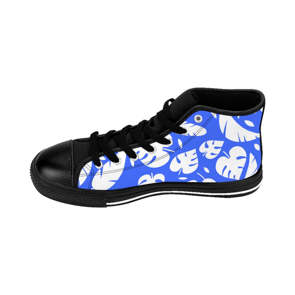 Blue Tropical Leaf Men's High-top Sneakers, White and Blue Hawaiian Style Leaves Print Designer Men's High-top Sneakers Running Tennis Shoes, Floral High Tops, Mens Floral Print Shoes, Hawaiian Style Tropical Leaf Print Sneakers For Men (US Size: 6-14)