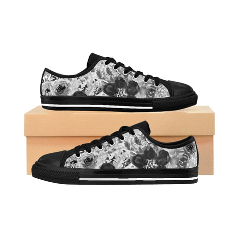 Grey Floral Print Men's Sneakers, White Flower Print Designer Men's Low Tops, Premium Men's Nylon Canvas Tennis Fashion Sneakers Shoes (US Size: 7-14)