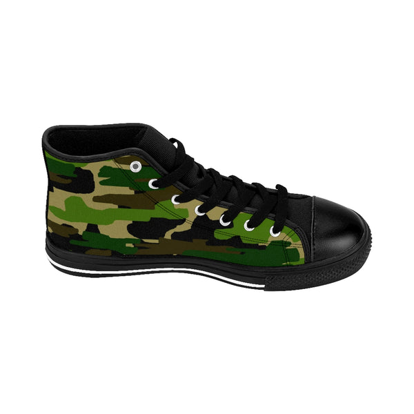 Military Army Green Camouflage Print Women's High Top Sneakers Running Shoes (US Size: 6-12)-Women's High Top Sneakers-Heidi Kimura Art LLC Green Camo Women's Sneakers, Military Army Green Camouflage Print Women's High Top Sneakers, Athletic Classic Running Shoes (US Size: 6-12)