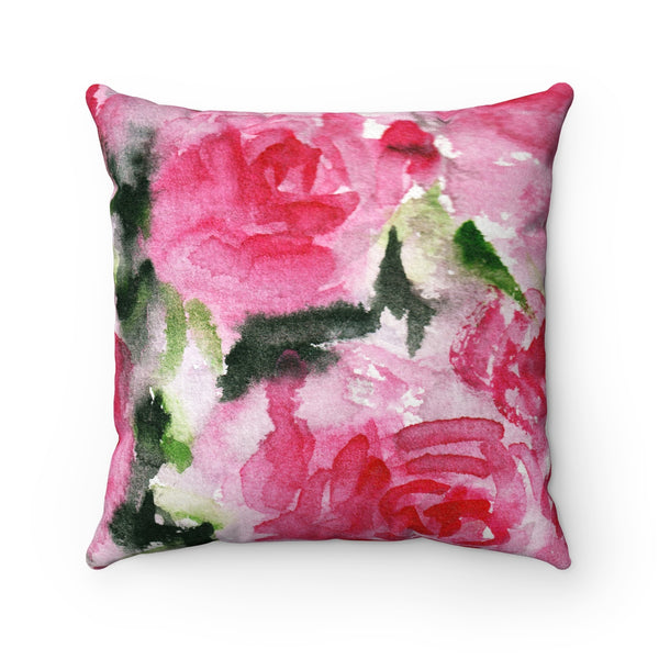 Pink Rose Floral Pattern Luxury Faux Suede Square Pillow Cover Pillow Set-Pillow-Heidi Kimura Art LLC