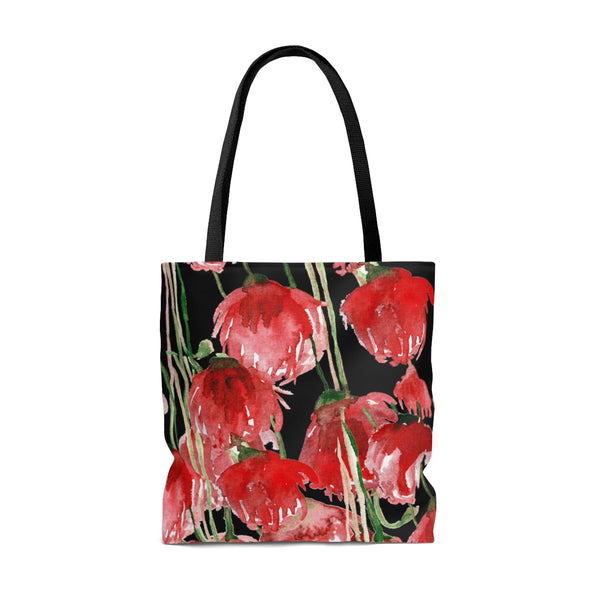 Seattle Pacific Northwest Red Tulip Flower Floral Designer Tote Bag - Made in USA-Tote Bag-Heidi Kimura Art LLC
