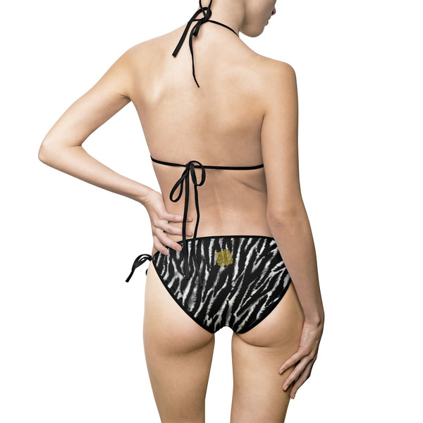 Black White Zebra Animal Print Women's 2-pc Bikini Swimsuit Top Bottom Set (US Size: S-5XL)-Bikini-Heidi Kimura Art LLC