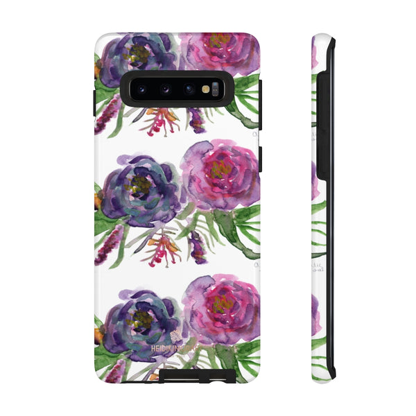 Pink Floral Print Phone Case, Roses Tough Designer Phone Case -Made in USA-Phone Case-Printify-Samsung Galaxy S10-Glossy-Heidi Kimura Art LLC