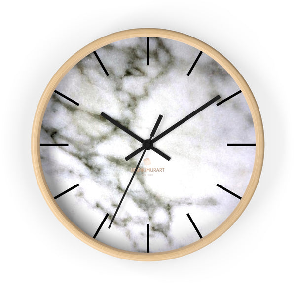 "White Marble Print Art Large Indoor Designer 10"" dia. Wall Clock-Made in USA-Wall Clock-10 in-Wooden-Black-Heidi Kimura Art LLC"