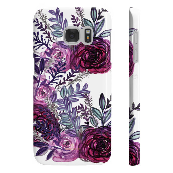 White Purple Rose Slim iPhone/ Samsung Galaxy Floral Print Phone Case, Made in UK-Phone Case-Samsung Galaxy S7 Slim-Glossy-Heidi Kimura Art LLC